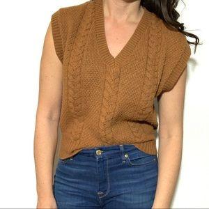 Vintage V-Neck Sweater Vest Cable Knit Brown Retro